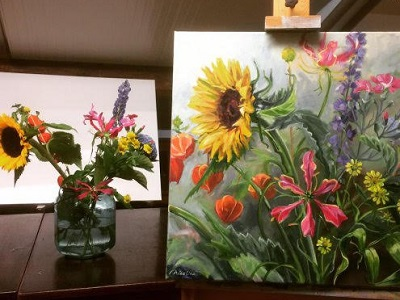 Workshop bloemen schilderen